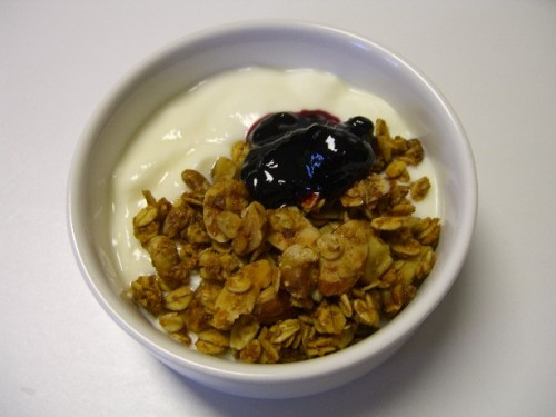 My Great Granola with homemade plain yogurt and a dab of blueberry preserves. Mmmm!