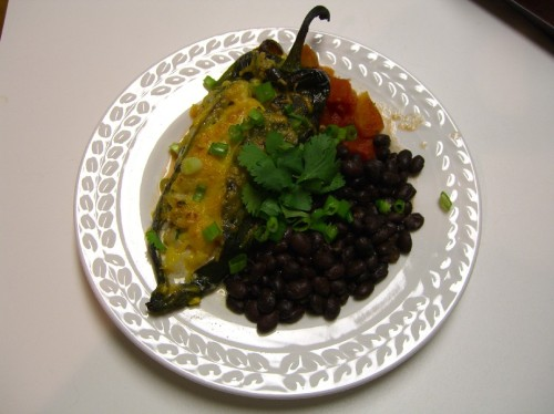 Stuffed Poblanos with Spicy Black Beans