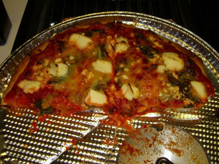 Four cheese basil pizza