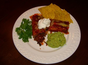Beef and bean enchiladas and guacamole!