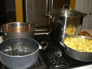 Canning Station: Jars and lids in hot water, simmering tomato sauce, boiling water and simmering apples