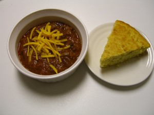 Bull burger chili and corn bread